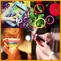 Universal Silicon Rubber Band Night Lights Hair Hand Bracelet Multi-Purpose Wristbands Soft Phone Bumper Case For iPhone Samsung