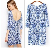 New 2014 woman Summer autumn milk silk Blue And White Porcelain Print Backless Slim Dresses sexy  casual dress vestidos S-L