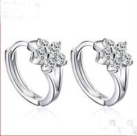 fashion cute snow flower snowflake 925 sterling silver stud earrings brinco leque #sky-04