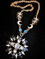Fashion color crystal Rhinestone necklace short paragraph sun moon stars