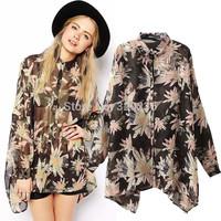 Free shipping  2014 Hot Sale  Girls'   chrysanthemum  Pattern Chiffon Blouse ladies Womens  blouse