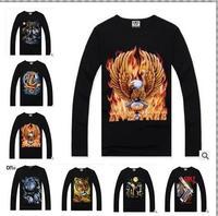 2014 new autumn Men's High quality famous brand  fashion novelty cotton long-sleeve 3D Animal Creative  t-shirt  S-3XL SIZE
