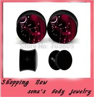 Wholesale acrylic uv galaxy logo ear plug 240pcs/lot mix size high quality ear flesh tunnel gauge body jewelry free shipping