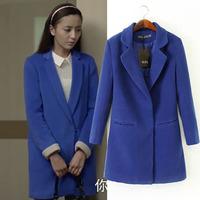 Solid front pocket long woolen coat jacket 2014 NEW women jacket autumn overcoat  women's casacos femininos warm winter coat