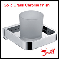 Free Shipping-Fashion Solid Brass Chrome Finish Square Glass Single Cup Holder,Toothbrush Cup Holder Bathroom Accessories-58558
