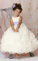 White Rosette Skirt GownOrganza Princess Flower Girl Dresses for Weddings Party Evening Vestidos 2-12 age with Peach Ruffled Hem