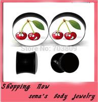 Acrylic uv double flared black ear plug tunnels  240pcs/lot  mix 8 size cute cherry logo piercing body jewelry wholesale