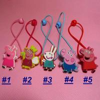 Cute Girls Peppa Pig Hairband Kids George Pig Hair Rope Hairpin Baby Hair Clip 100pcs/ set