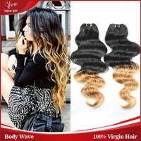 brazilian virgin hair body wave 4/5/6pc ombre brazilian hair extensions black/blonde brazilian virgin hair gaga hair 62-72g/pc