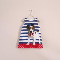 2014 children baby Girls summer puppy Dog Stripe vest dress wholesale