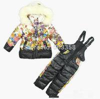 KS019 Free Shipping 2014 Flower Girls Children Ski Suit Hooded Belt Winter Suit Jacket+pants 2pcs Kids Down Jacket Set