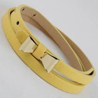 Free shipping 2014 new fashion women hip punk lovely bow buckle leopard cummerbund all-match neon color thin leather belt female