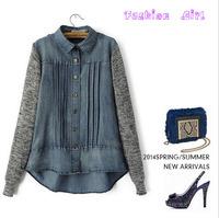Fashion 2014 new design women's long-sleeved denim folded lapel stitching knit sweater