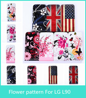 High Quality Fashion Elegant Flower Butterfly  pattern Style  Vertical Filp PU Leather Case Cover For LG L90  D410 Hard case