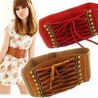 Free shipping 2014 new popular european style trench velvet vintage rivet tassel wide cummerbund strap belt waist female women