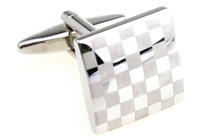 Promotion!!  Fashion Cufflinks 2 pairs/lot silver color fashion laser checks design copper material free shipping
