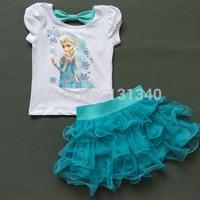2014 Girls Frozen Princess Elsa Dress + T shirt 2 Pcs Set 4-7 Age Sky Blue Layered Tutu Dress Sets Frozen Clothing Sets