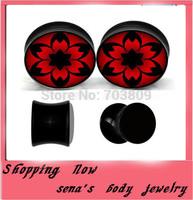 New arrived ear gauge plug sandd flesh tunnel flower logo ear expander piercing body jewelry 160pcs/lot  piercing  wholesale