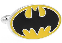 Promotion!! Batman Cufflinks 2 pairs/lot yellow color fashion superheroes design copper material free shipping