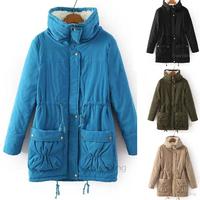 New 2014 Autumn Winter Mid-long European Women Fashion Jacket Slim Long Sleeve Coat Warm Cashmere Jacket