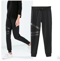 Brand 2014 New Womens Drawstring Waist PU leather Patchowrk Deco Casual Pants Sweatpants Size SML