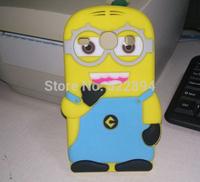 3D Cartoon Smile Face Despicable ME 2 Minion  Silicone Soft Case Cover  For Samsung Galaxy Core I8260 I8262 Free Shipping