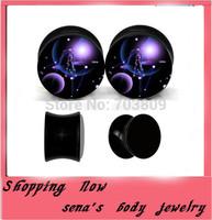 Fashion  print universe logo ear gauge flesh plug tunnels 160pcs/lot  mix 8 size acrylic saddle black ear expander wholesale