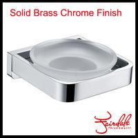 Free Shipping-Fashion Wall Mounted Single Brass Glass Soap Dish Holder Chrome Polished Bathroom Soap Dish Rack Holder