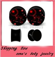 New arrival acrylic flesh plug tunnels 160pcs/lot  mix 8 size black saddle tunnel galaxy logo Unisex Body Piercing Jewelry
