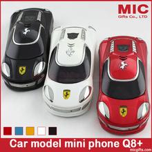 2014 Russian keyboard Dual SIM Quad-bands Flip luxury small mini sport supercar car model cell mobile phone cellphone Q8+ P11