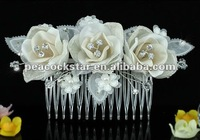 Bridal Wedding Party Handmade Ivory Fabric 3D Rose Crystal Hair Comb CT1485