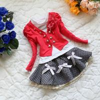 Baby Toddler Girls Outwear Clothing Suit Set Case 1*Floral Coat+1*Cotton T-shirt+ Cute skirt Kids tk280
