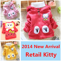 2014 Cute Kitty Girls Winter Coat Long Sleeve Kids Winter Clothes Fashion Jackets for Girls All for Kids Clothes and Accessories
