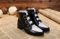 plus size 40 Autumn boots snakeskin genuine leather women's boots hasp side zipper black boots J brand desiner ankle boots