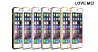Original Love Mei Ultra-thin Double Color Arc Metal Bumper Case For Apple iPhone 6 + Screen Protector Film + Retail Package