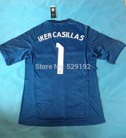Thailand quality 3A + + + 14/15 Real Madrid goalkeeper Iker Casillas # 1 jersey soccer jerseys cheap soccer