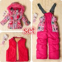Export to Russia children's winter clothing set girl's ski suit thickening windproof fur jacket+bib pants+wool vest 3pcs/set