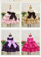 Girl Dress Birthday Party Princess Dress With Big Bowknot For Christmas Wedding Home Red Pink Purple Beige 4 Colors