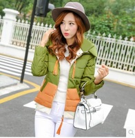 2014 New Women's Winter Down Jacket Coat Thick Short Design Slim Patchwork Casual Parka Plus Size 4 Colors Free Shipping 2802