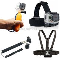Gopro Accessories kits Monopod Tripod + Float Handheld Stick + Chest Belt + Head Strap For all Gopro Hero 3 2 1 SJ4000 AEE