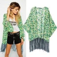 2014 New arrival Ladies' vintage leopard print Kimono outerwear loose cape elegant non-button coat cardigan casual brand tops