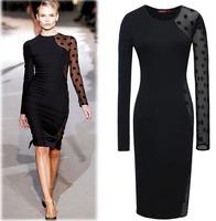 Fashion Vintage Black Long Close-knitting Knee-Length Stylish Lace Sleeve Office Lady Under Dress Women Cherrykeke