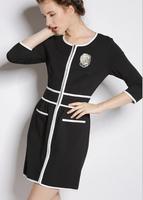 Fast/Free Shipping Fashion All-match 2014 Three Quarter Sleeve Vintage Patchwork Women Casual Dress Slim Autumn Dresses B156