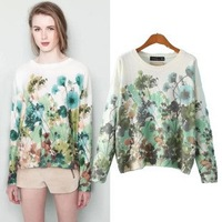 2014 New arrival Ladies' elegant floral print pullover Casual slim basic O-neck long Sleeve sweater brand Tops