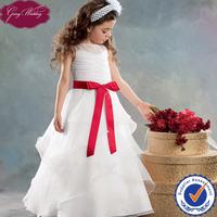 Goingwedding Floor Length Organza Lovely Princess Red And White Flower Girl Dress HT079