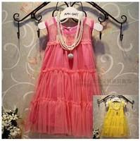 baby children's clothing wholesale fashion white gauze sleeveless lace dresses of the girls