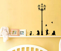 Top Quality Ancient Lamp Cat Bird Wall Sticker&Cat&Bike with Large Love&Cat and stairs Wall Mural Room Decal Wallpaper FK871240