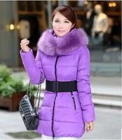 2014 Winter Warm Women Down Jcakets Fashion Slim Thick Coats Feather  Fur Collar Women Down Parkas Plus Size Free Shipping 8008