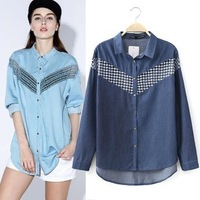 2014 New arrival Ladies' Sexy tulle splicing denim blouse shirt long sleeve hollow Shirt casual slim blouse brand designer tops