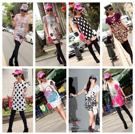 Harajuku Style Street Wear Over Summer New Fabric Dress Fit All Size Dot Stripe Flower Pattern Fashion Women Dress Sexy T19-1(China (Mainland))